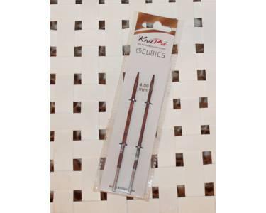 Спицы Knit Pro  съемные Cubics 4 мм для длины тросика 28-126см, дерево, коричневый, 2шт