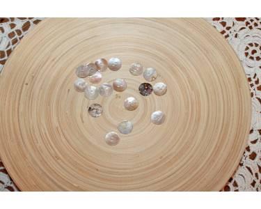 Пуговицы перламутр (ракушка) СТ-Р S002-Ag цвет белый кремовый с переходами 28L-18мм, 2 прокола.