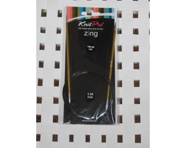 Спицы Knit Pro  круговые Zing 3,5мм/100см, алюминий, цвет жёлтый