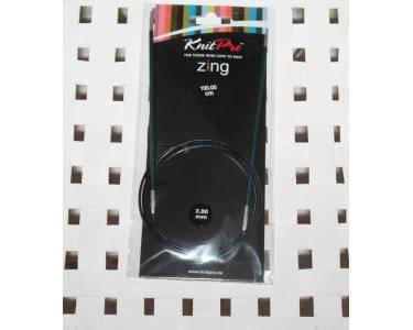 Спицы Knit Pro круговые Zing 3 мм/100 см, алюминий, цвет малахит