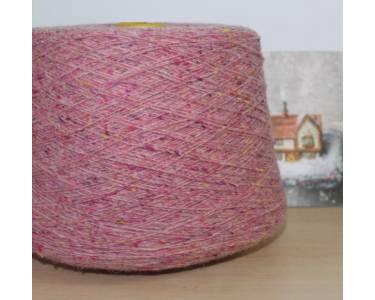 Пряжа Твид art Condor , цвет розово-брусничный  с крапками охры, фуксии, алого, фиолета, оранжа (21287)