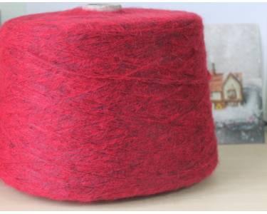 Пряжа Мохер/шерсть/полиамид/полиакрил art Wanda, цвет спокойный красный (на черной основе)
