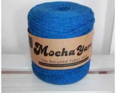 """Трикотажная пряжа(вторичка) Mocha Yarn (Турция), цвет синий с черными """"галочками"""""""