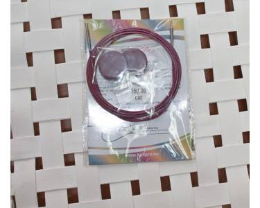 Тросик Knit Pro (заглушки 2шт, ключик) для съемных спиц, длина 126 (готовая длина спиц 150)см, фиолетовый