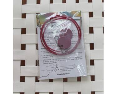 Тросик Knit Pro (заглушки 2шт, ключик) для съемных спиц, длина 76 (готовая длина спиц 100)см, фиолетовый