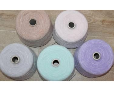 Пряжа-шнурочек с кид-мохером Profilo art Vitis, цвет пастель-мята-молочный меланж