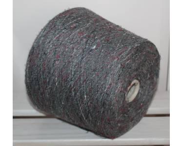 Пряжа шерсть 89 %/хлопок 11% Vimar art Carisio, цвет серый с красной, молочной, белой намоткой