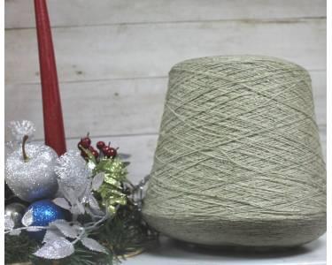 Пряжа Твид с шелком art Penelope, цвет оливковый с белыми и черными крапками