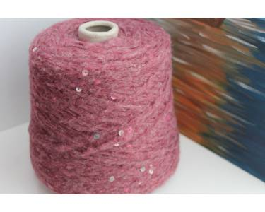 Пряжа с паетками Шерсть/хлопок/акрил Art Dudu Pail, цвет облачный гранатово-винный с паетками цвета фуксии и серебра