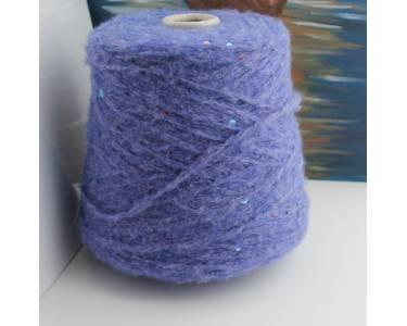 Пряжа Шерсть/хлопок/акрил с паетками Art Dudu Pail, цвет облачный , синий с оттенком фиолета с бирюзово-меднымипаетками