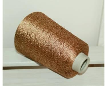 Пряжа с люрексом Ilaria art Astro, цвет золотисто-коричневый с золотым люрексом
