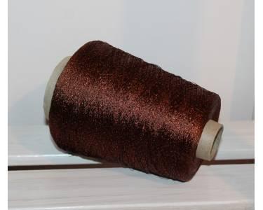 Пряжа с люрексом Ilaria art Astro, цвет темный шоколад с оранжевым люрексом(4203)